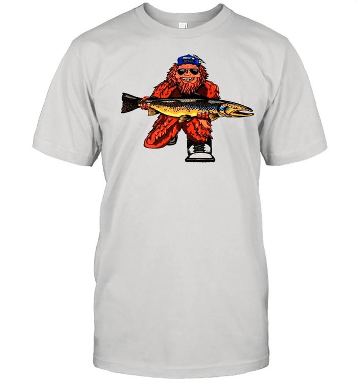 Bigfoot hug fish shirt