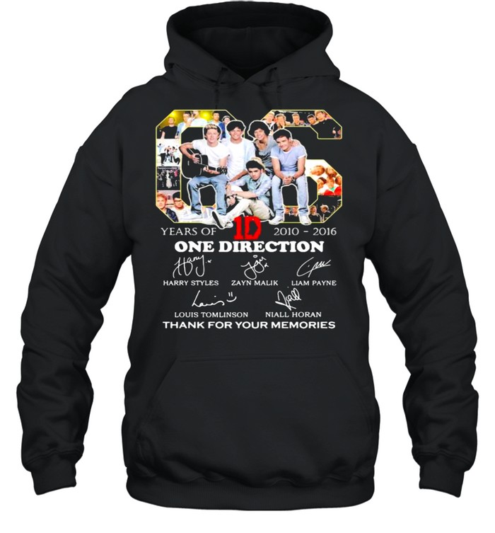 06 Years Of 2010 2016 One Direction Thank You For The Memories shirt Unisex Hoodie