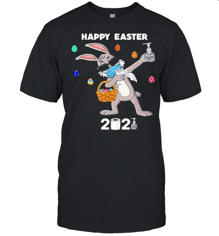 Dabbing rabbit face mask happy easter 2021 shirt