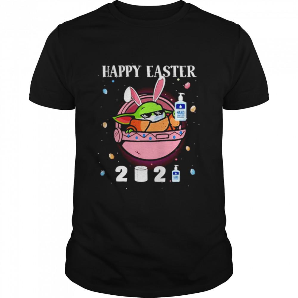 2021 Baby Yoda wearing face mask Happy Easter shirt