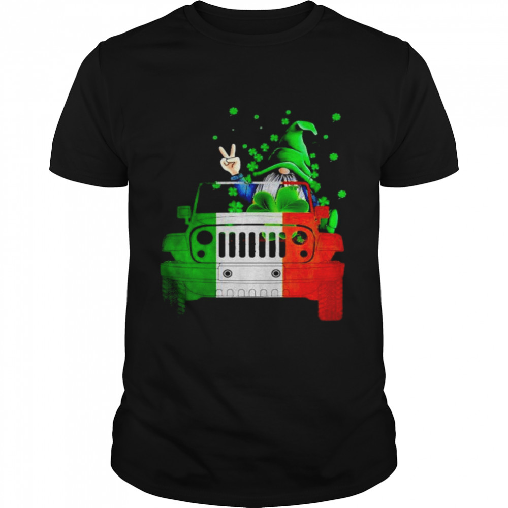 Gnome driving jeep St.Patrick's day shirt