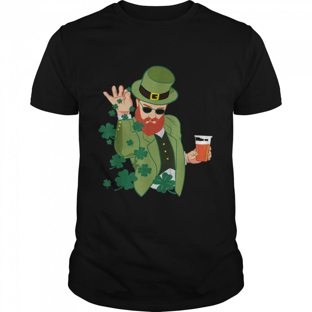 Leprechaun throwing shamrocks shirt
