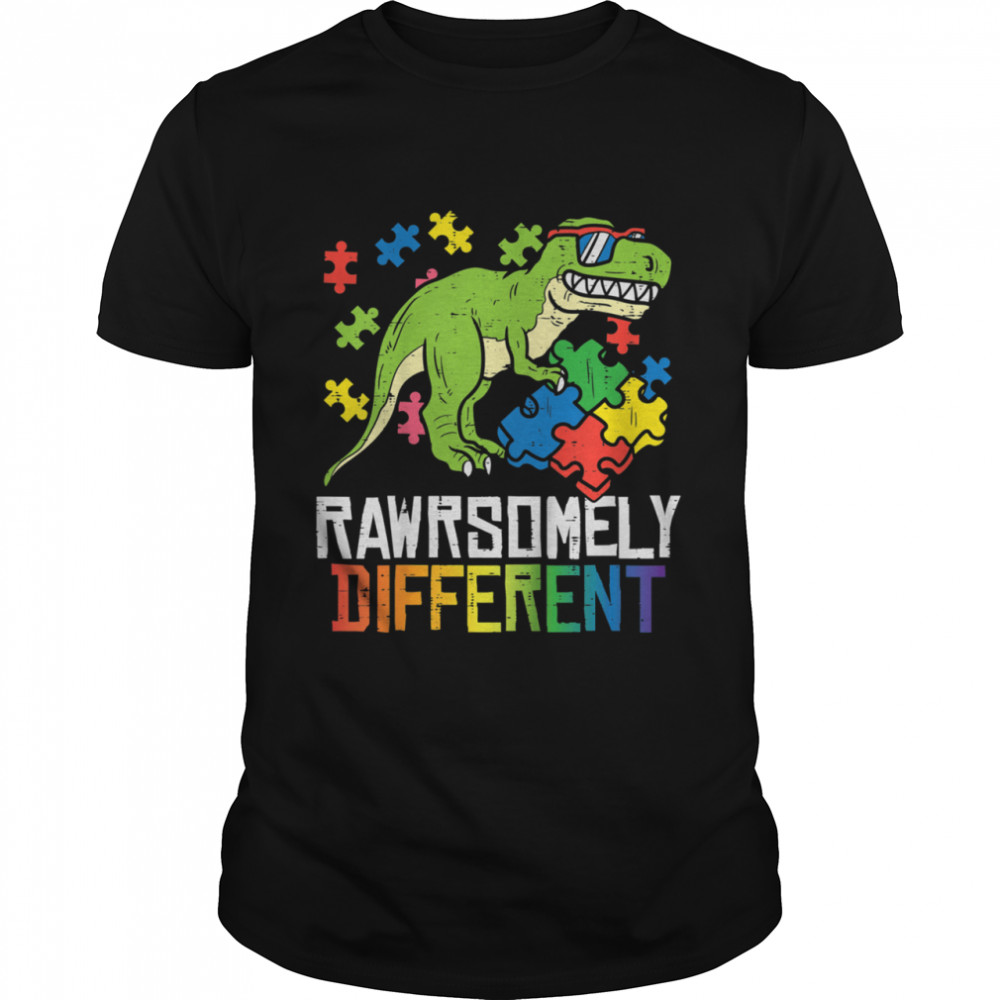 Rawrsomely Different Trex Puzzle Boys Autism Awareness Boys shirt