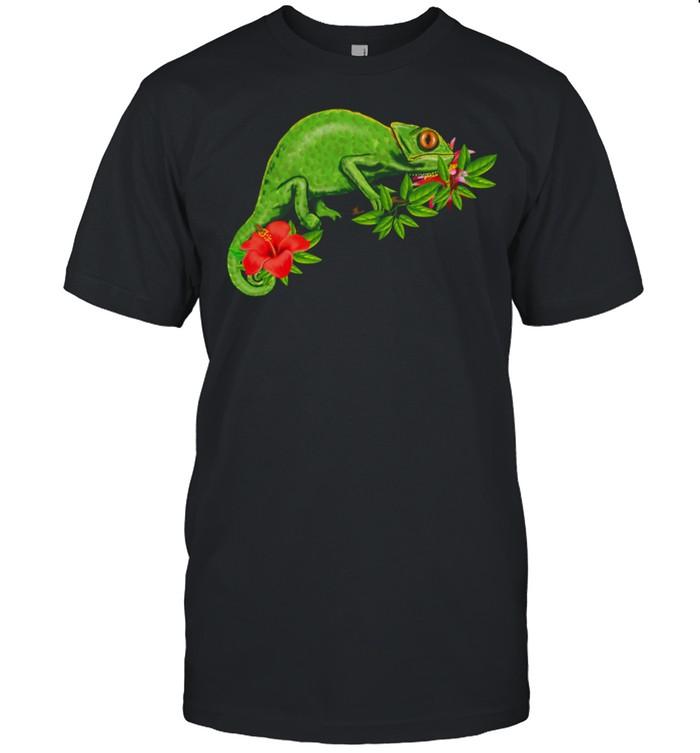 Chamäleon Blumen tropisch Reptil shirt