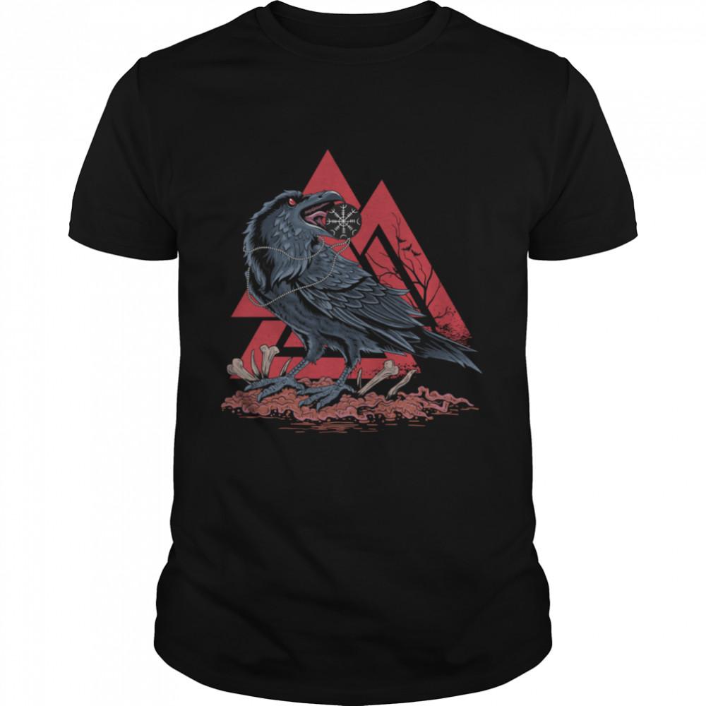 Odin Ravens Huginn & Muninn Viking Black Crow VALKNUT shirt