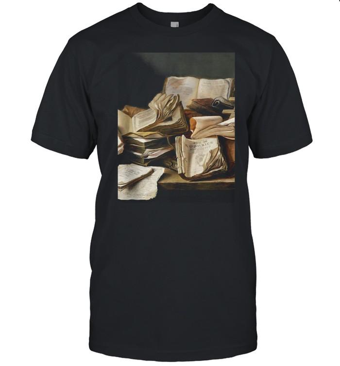 Dark academia aesthetic book art shirt