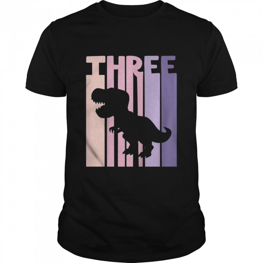 Kids 3rd Birthday Girl Retro Dinosaur Theme Party 3 years old shirt