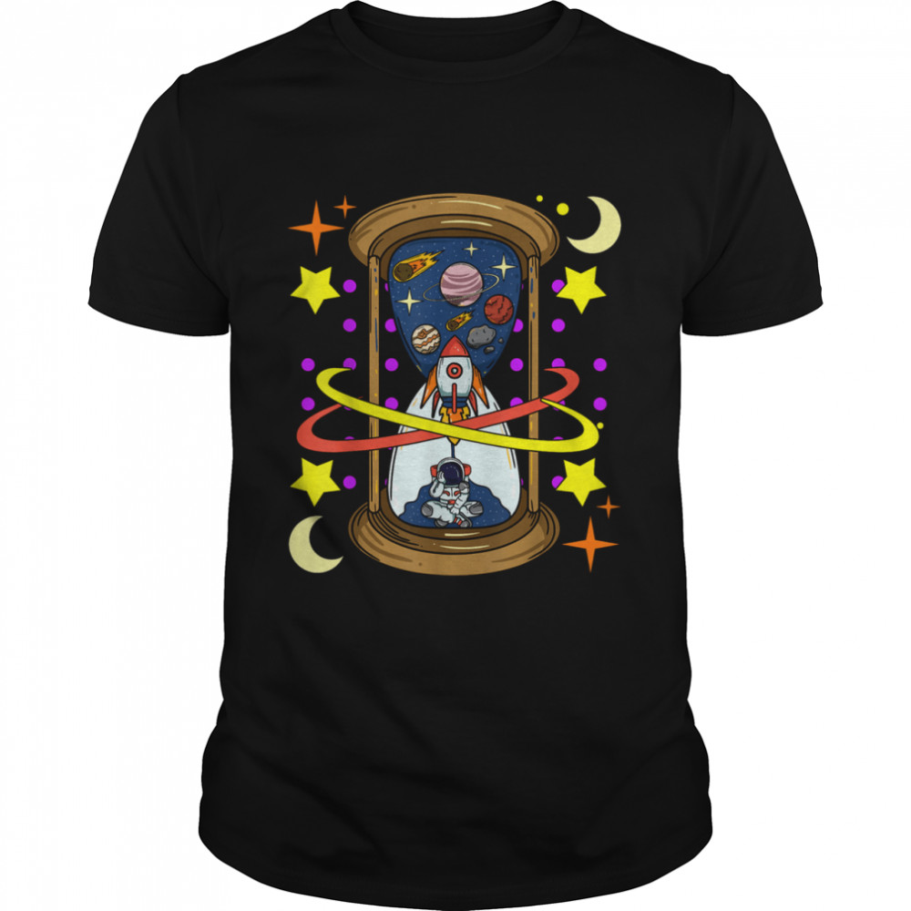 Unique Rocketship Spaceman Galaxy Hourglass Timer in Space Shirt