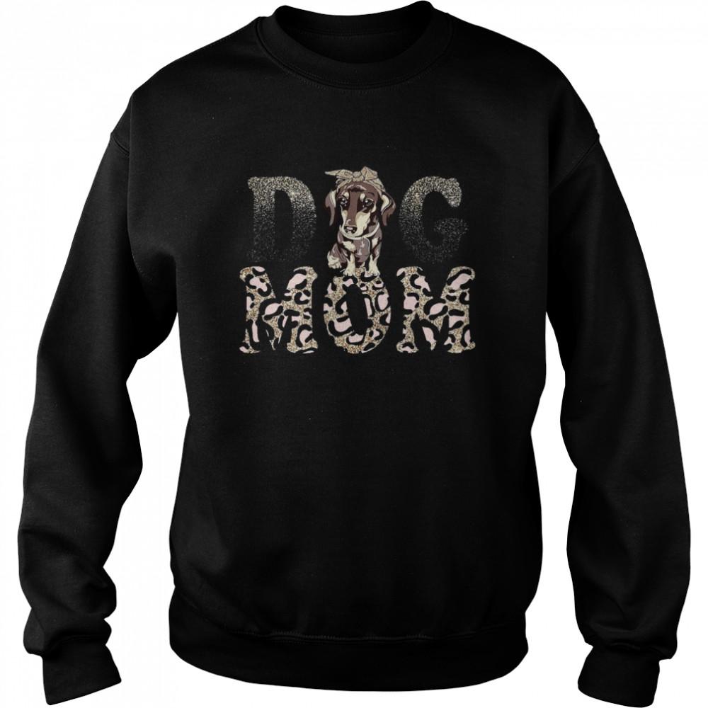 Dachshund Leopard Dog Mom shirt Unisex Sweatshirt
