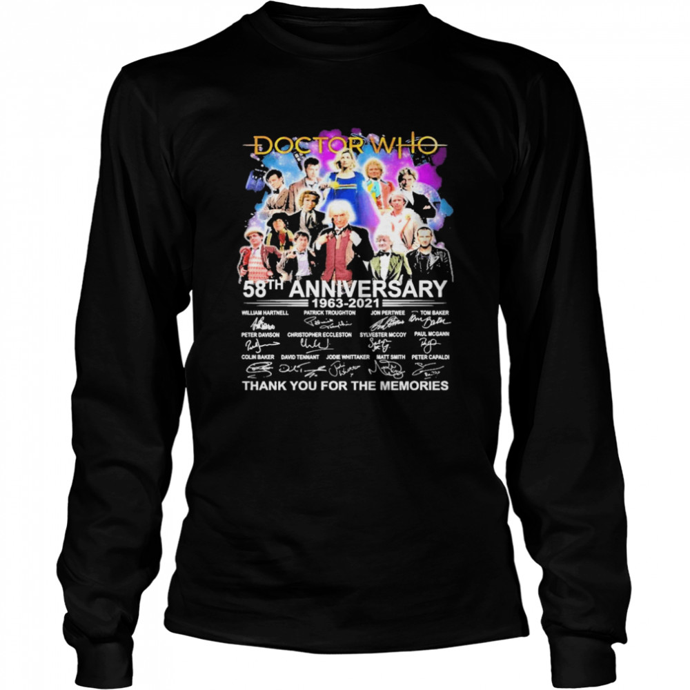 Doctor Who 58th anniversary 1963 2021 signatures thank you for the memories shirt Long Sleeved T-shirt