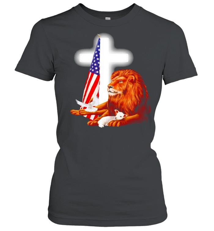 Lion and Lamb Jesus USA flag shirt Classic Women's T-shirt