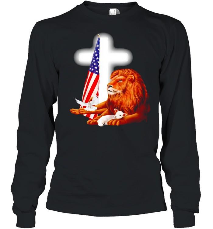 Lion and Lamb Jesus USA flag shirt Long Sleeved T-shirt
