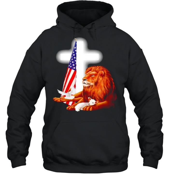 Lion and Lamb Jesus USA flag shirt Unisex Hoodie