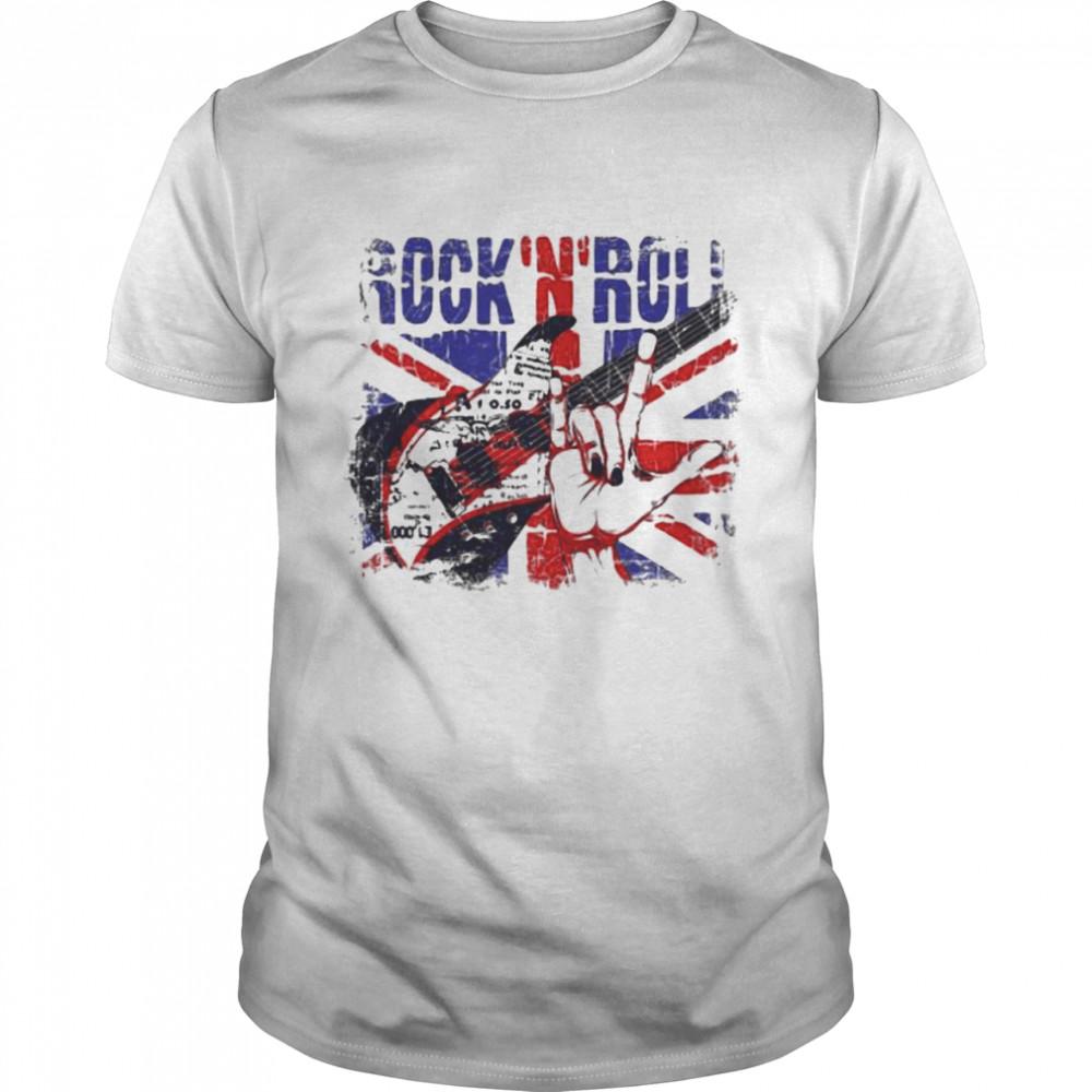 Rock N Roll Guitar Flag Shirt